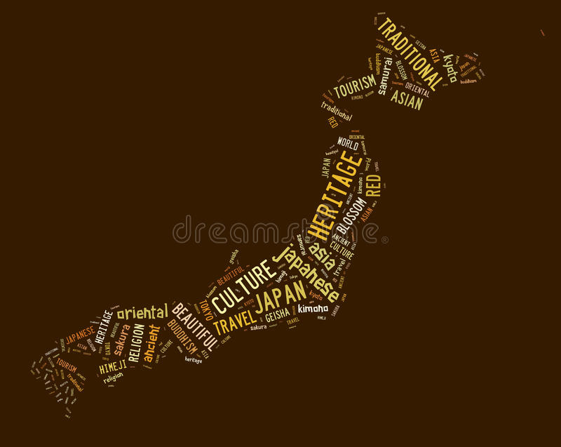 Japan Map Showing Elements Of Japanese Culture Stock Photography