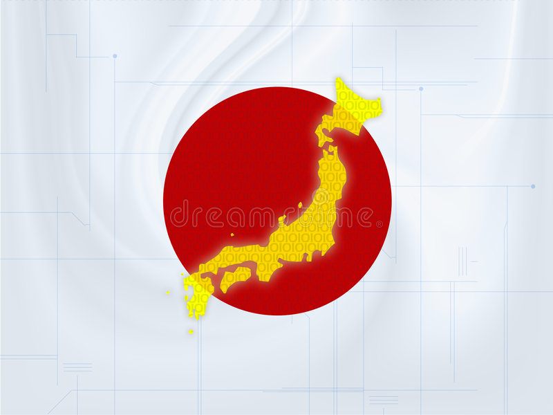 Japan map techno. Wallpaper illustration of a Japan map in a techno style stock photo
