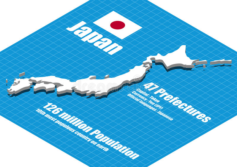 Japan map vector stock illustration