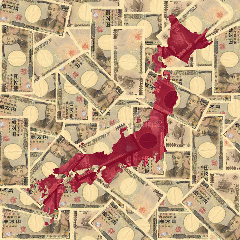 Japan map with Yen vector illustration