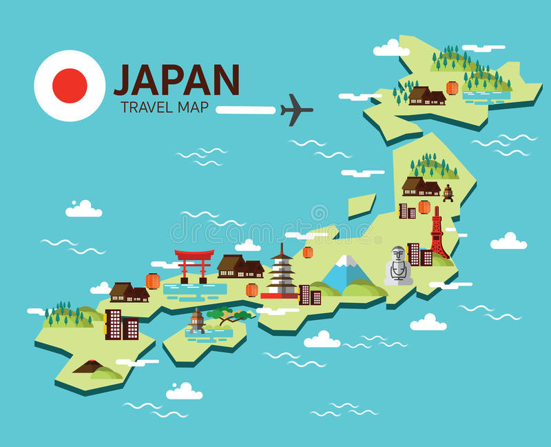 Japan-Markstein- und -reisekarte Flache Gestaltungselemente und Ikonen V vektor abbildung