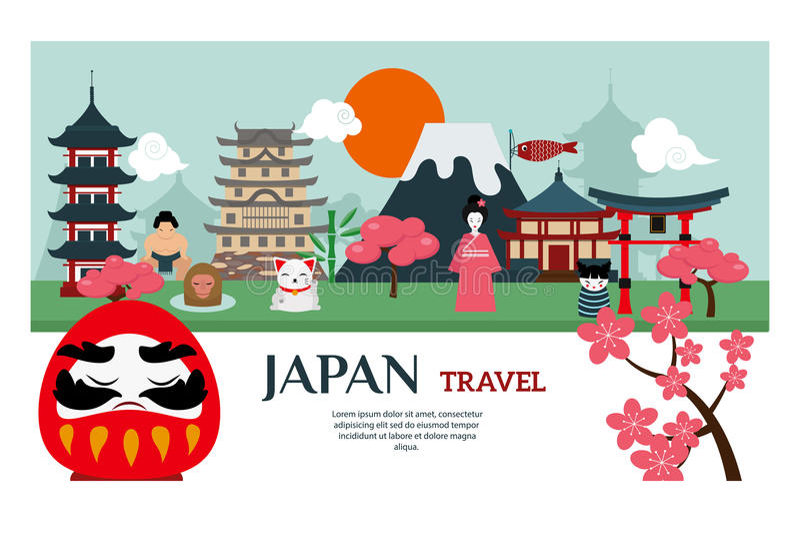 Japan-Marksteinreise-Vektorplakat stock abbildung