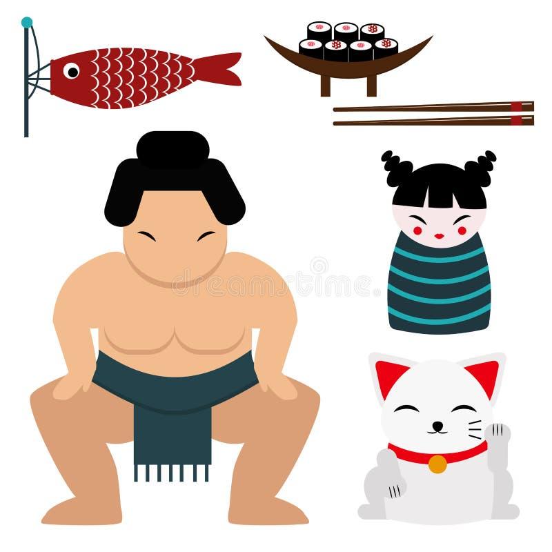 Japan-Marksteinreisevektorikonensammlungskulturzeichengestaltungselementfahrzeit-Vektorillustration lizenzfreie abbildung