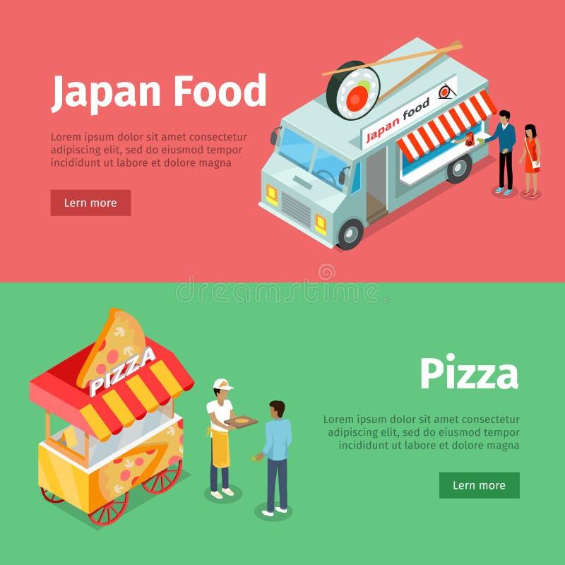 Japan mat och mobila vagnar för pizza med gatamål stock illustrationer