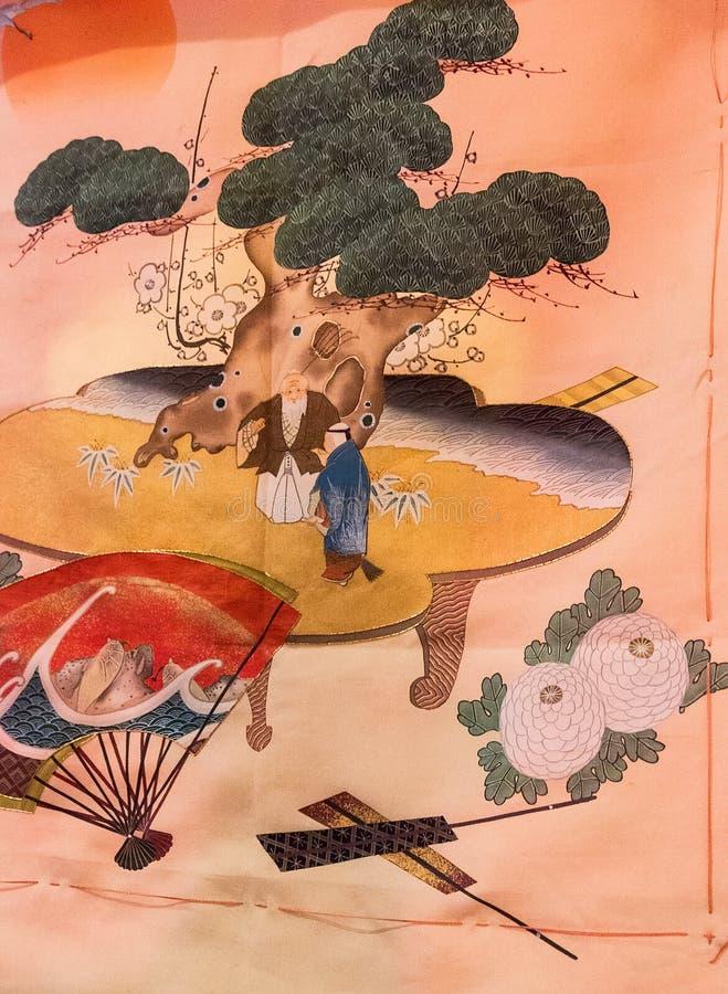 Japan-Muster Kimono der Weinlese traditionelles japanisches silk auf Dekorum stockfotografie