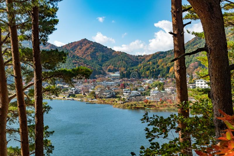 Japan by nära kawaguchiko nära mt fuji Japan arkivbild