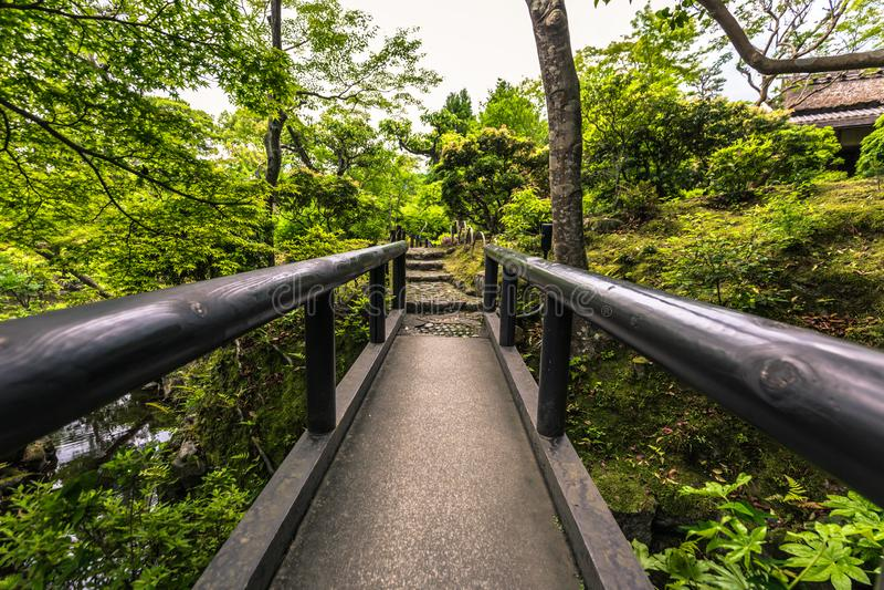 Nara - May 31, 2019: The Isuien garden in Nara, Japan royalty free stock photo