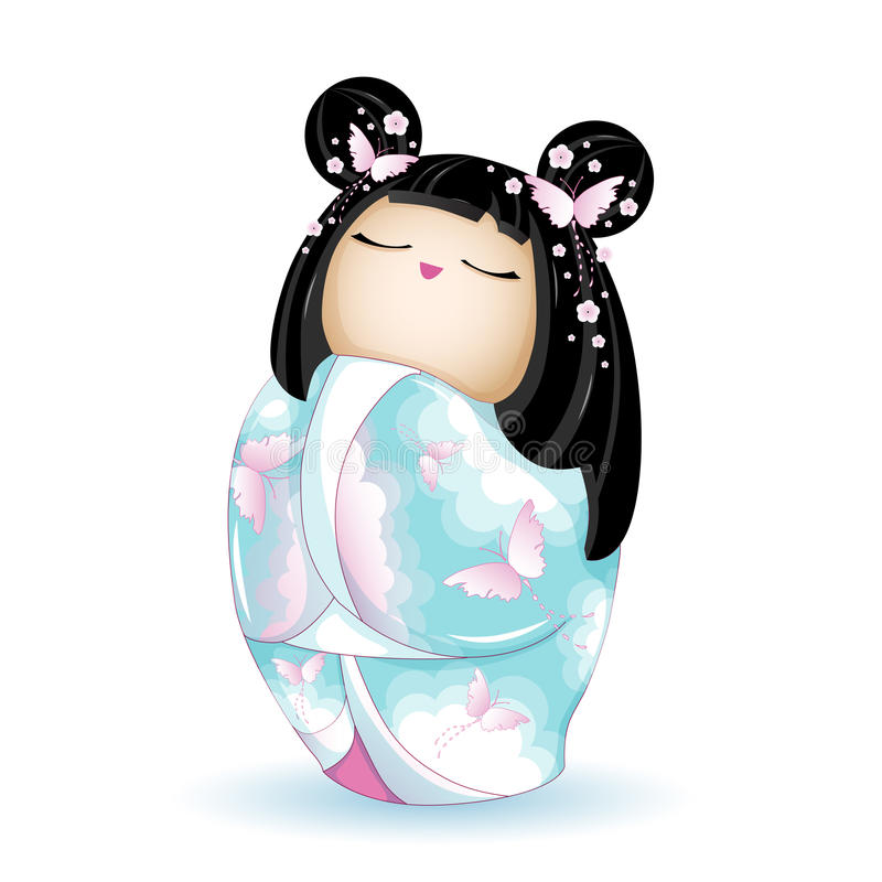 Japan National kokeshi doll in blue kimono with a pattern of pink clouds and butterflies. Vector illustration on white background. stock illustration