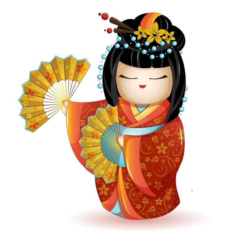 Japan nationell kokeshidocka i röd kimono med fans white för vektor för bakgrundsillustrationhaj Ett tecken i en tecknad filmstil stock illustrationer
