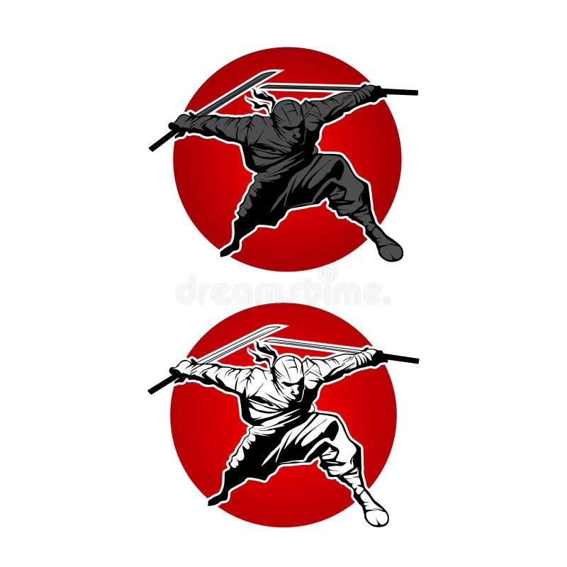Japan Ninjas sport Logo concept. Katana weapon insignia design. Vintage ninja mascot badge. Martial art Team t-shirt illustration stock illustration