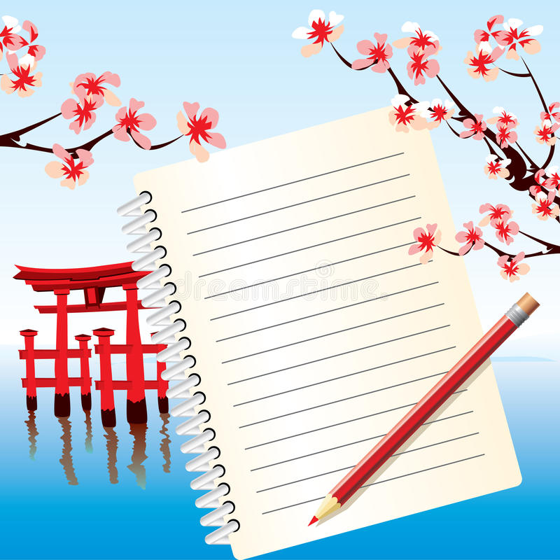japan notatnik royalty ilustracja
