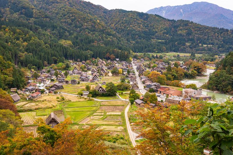 Beautiful aerial view of the UNESCO world heritage site, Shirakawa-go in autumn season stock photos
