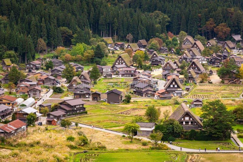 Beautiful aerial view of the UNESCO world heritage site, Shirakawa-go in autumn season stock photo