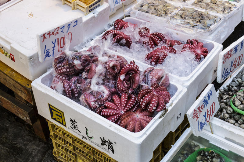 JAPAN Octopus. Japan Fish shop sell Ready to eat Octopus royalty free stock photo