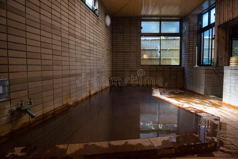 Japan onsen in traditional ryokan hotel stock photography