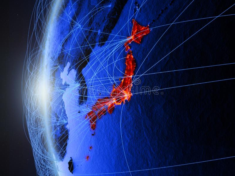 Japan op blauwe Aarde met netwerk royalty-vrije illustratie