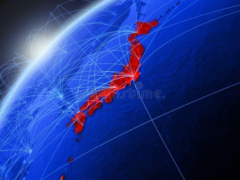 Japan op blauwe Aarde met netwerk vector illustratie