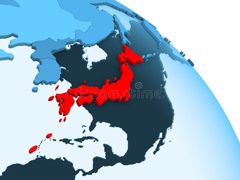 Japan op blauwe bol royalty-vrije illustratie