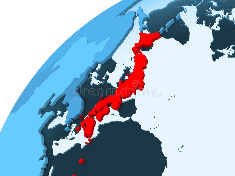 Japan op blauwe bol stock illustratie