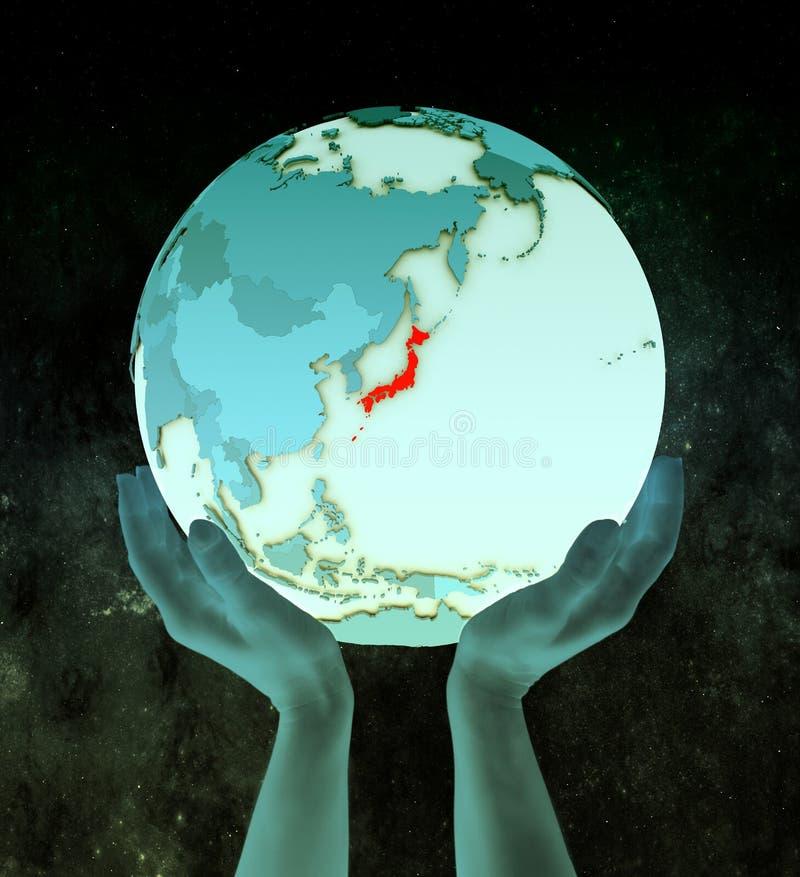 Japan op blauwe bol in handen stock illustratie