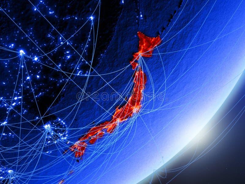 Japan op blauwe blauwe digitale Aarde stock afbeelding