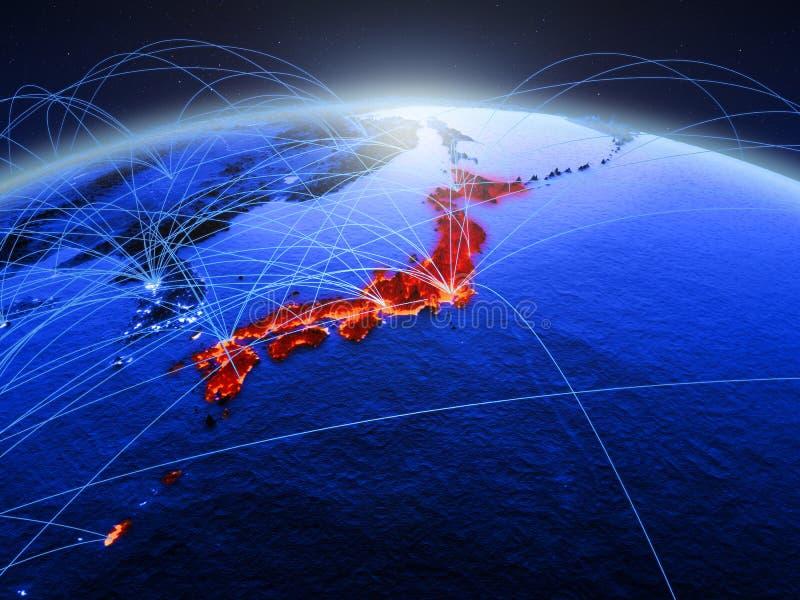Japan op blauwe digitale aarde met internationaal netwerk die mededeling, reis en verbindingen vertegenwoordigen 3D Illustratie royalty-vrije stock fotografie