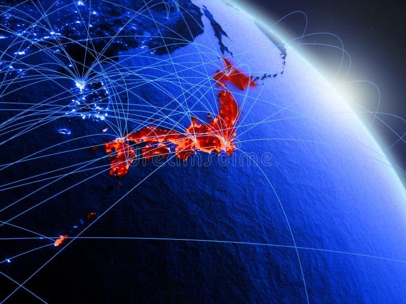Japan op blauwe blauwe digitale bol stock illustratie