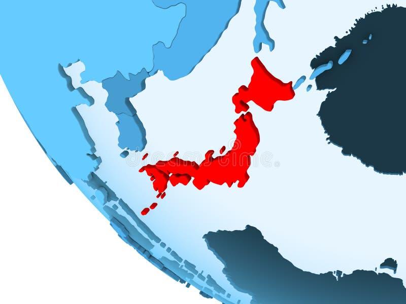 Japan op blauwe politieke bol vector illustratie