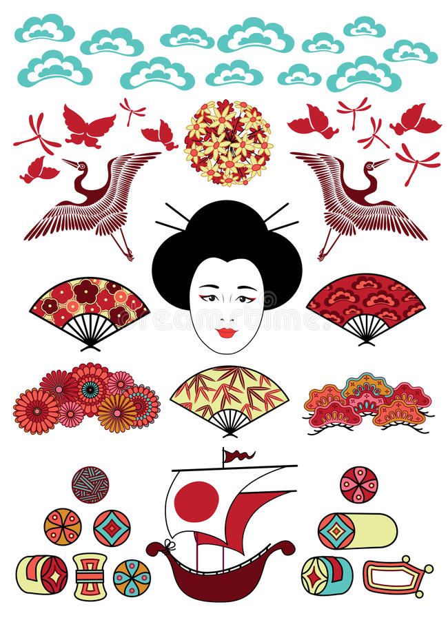 japan ornamentuje set ilustracji