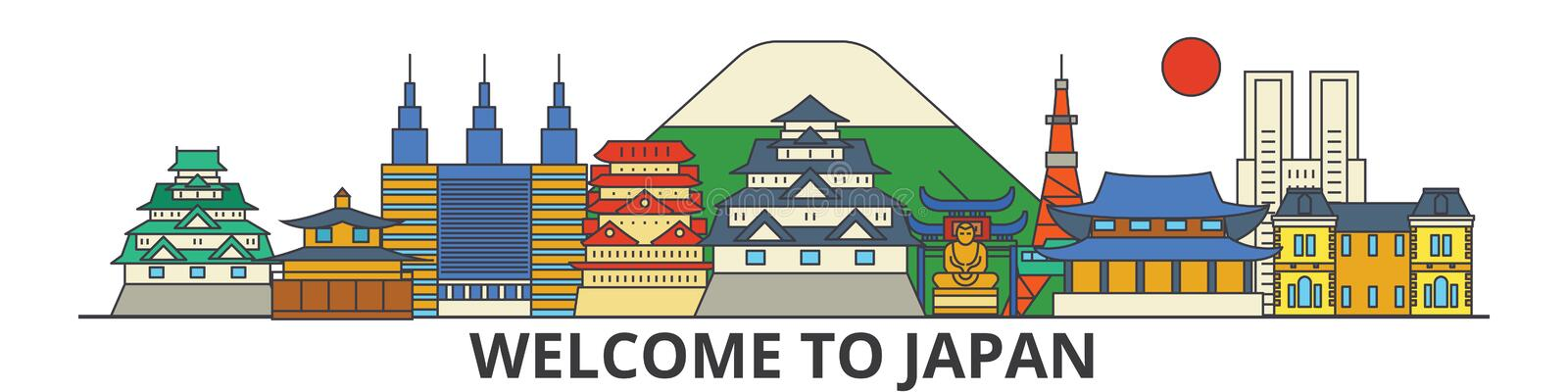 Japan outline skyline, japanese flat thin line icons, landmarks, illustrations. Japan cityscape, japanese travel city. Japan outline skyline, japanese flat thin royalty free illustration