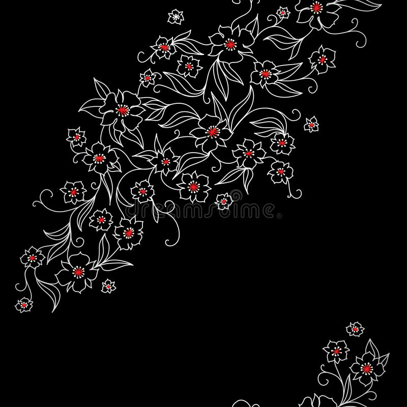 Japan pattern with flowers vector illustration