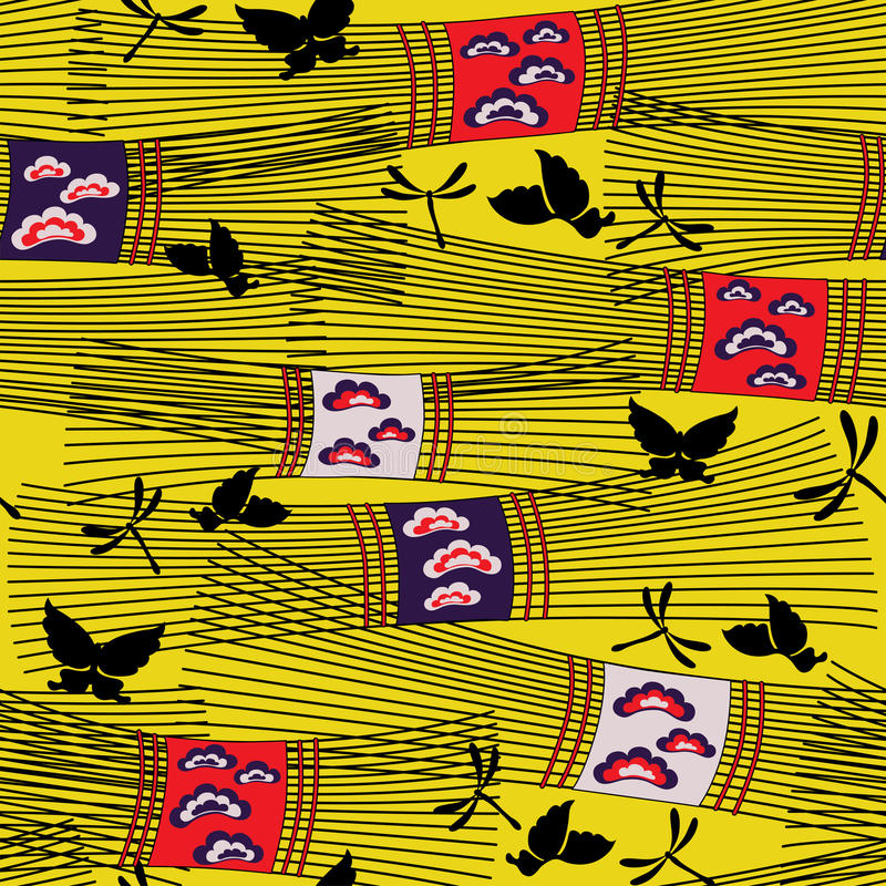 Japan pattern with hay royalty free illustration