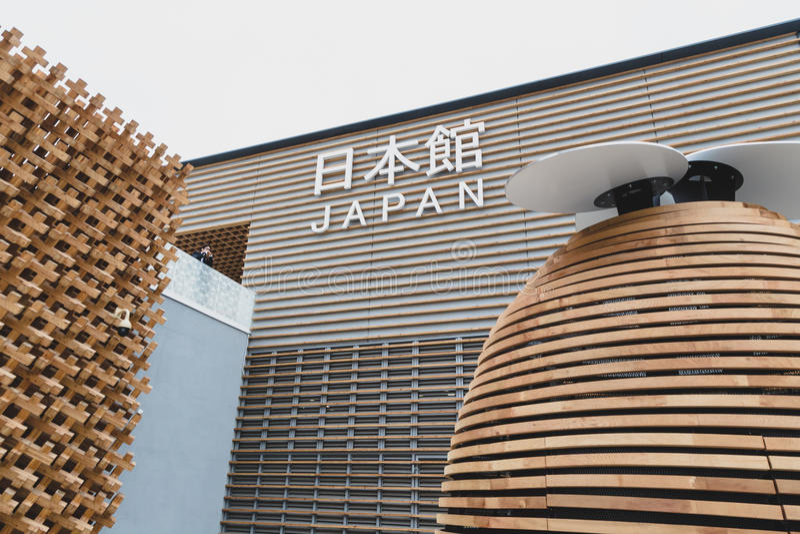 Japan paviljong på expon 2015 i Milan, Italien royaltyfri bild