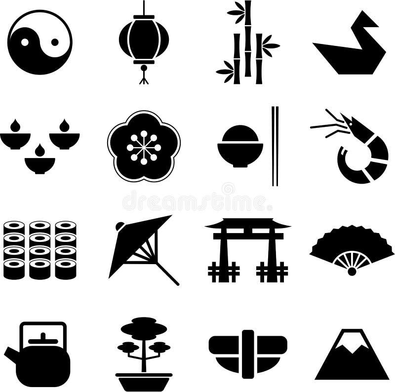 japan pictograms royaltyfri illustrationer