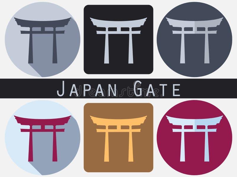 Japan port Torii utfärda utegångsförbud för plant shinto historisk monument stock illustrationer