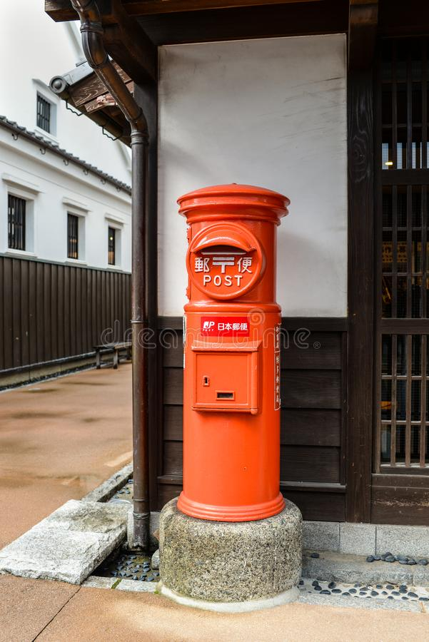 Japan Post servicebrevlåda i Fukuoka arkivfoton