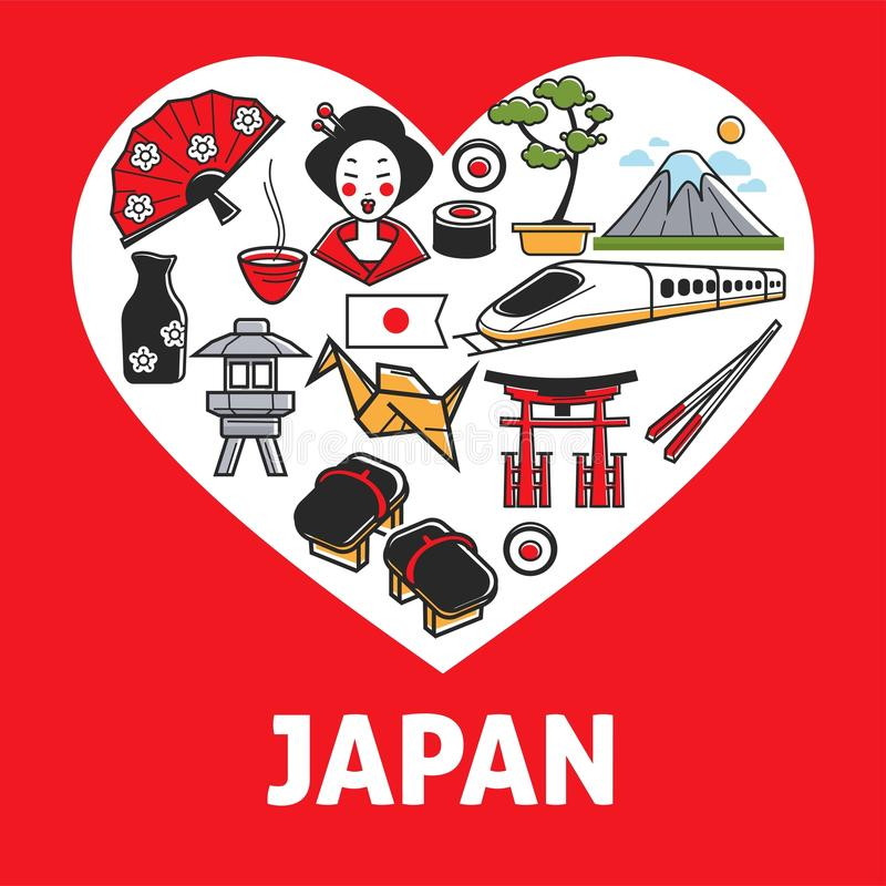 Japan Promotional Poster With Country Symbols Inside Heart Stock