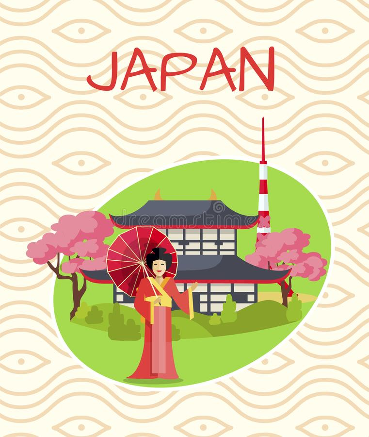 Japan Promotional Poster with Geisha in Red Robe vector illustration