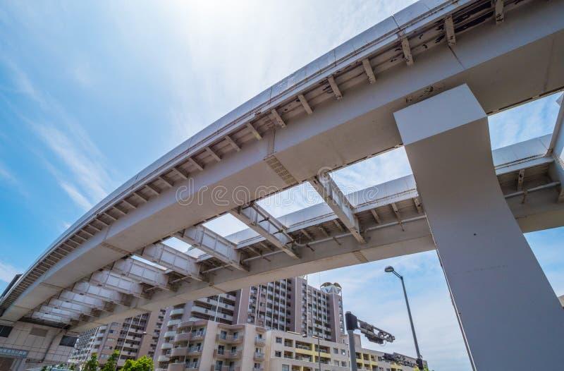 Japan rail tracks over the streets of Tokyo - TOKYO, JAPAN - JUNE 12, 2018 royalty free stock photo