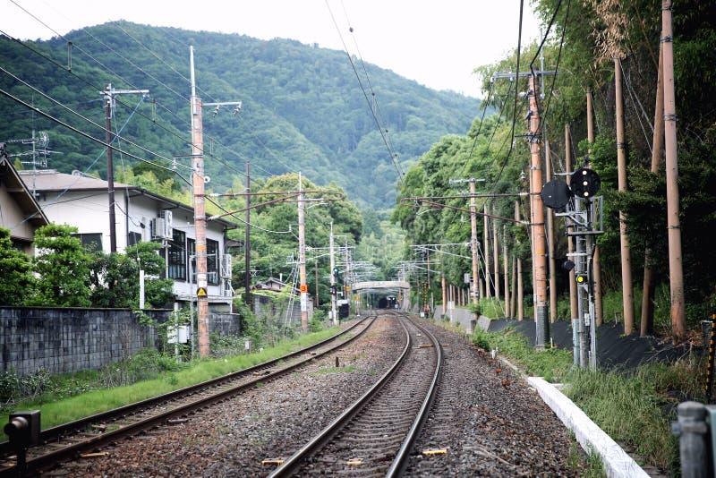 Japan rail train , Japanese railway in Kyoto. Japan rail train view , Japanese railway in Kyoto stock photo