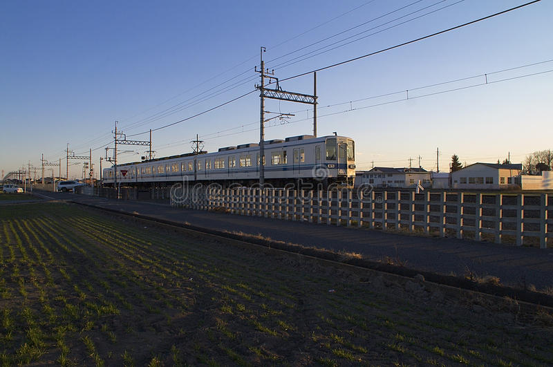 Japan railway in countryside stock photography