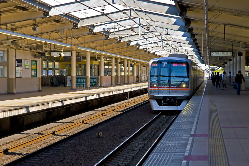 Japan railway train platform royalty free stock photos