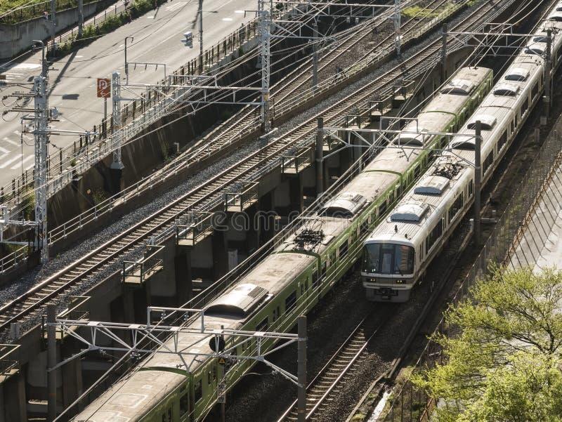 Japan Railway Train Track Transportation Osaka city. Japan Railway Train Track top view Transportation Osaka city royalty free stock image