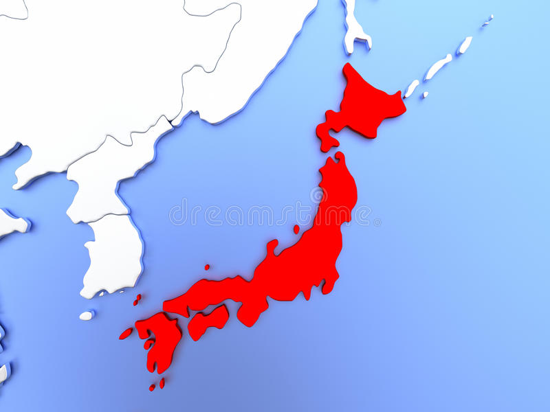 Japan in red on map stock illustration illustration of map of japan highlighted in red on simple shiny metallic map with clear country borders 3d illustration gumiabroncs Gallery