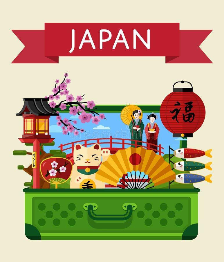 Japan-Reisefahne mit berühmten Anziehungskräften vektor abbildung