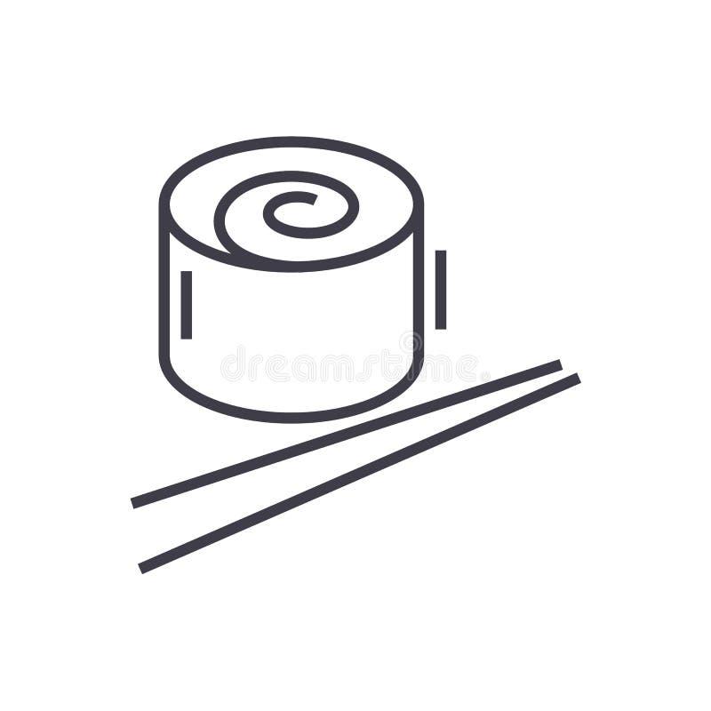 Japan restaurant, sushi roll vector line icon, sign, illustration on background, editable strokes vector illustration