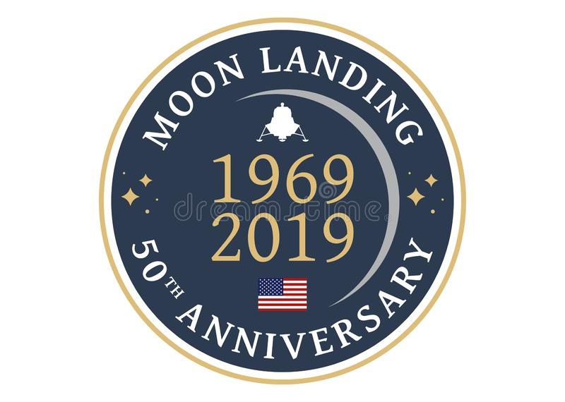 MOON LANDING 50th ANNIVERSARY stock illustration