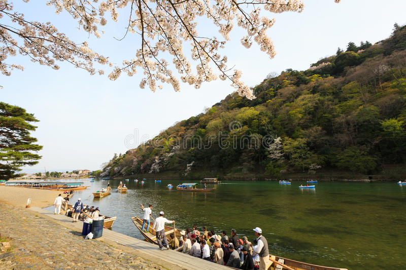 Japan`s cherry blossom season. This picture was taken in Arashiyama district in Kyoto Japan at springtime. Kyoto has so many nice places, specially at the cherry stock photography