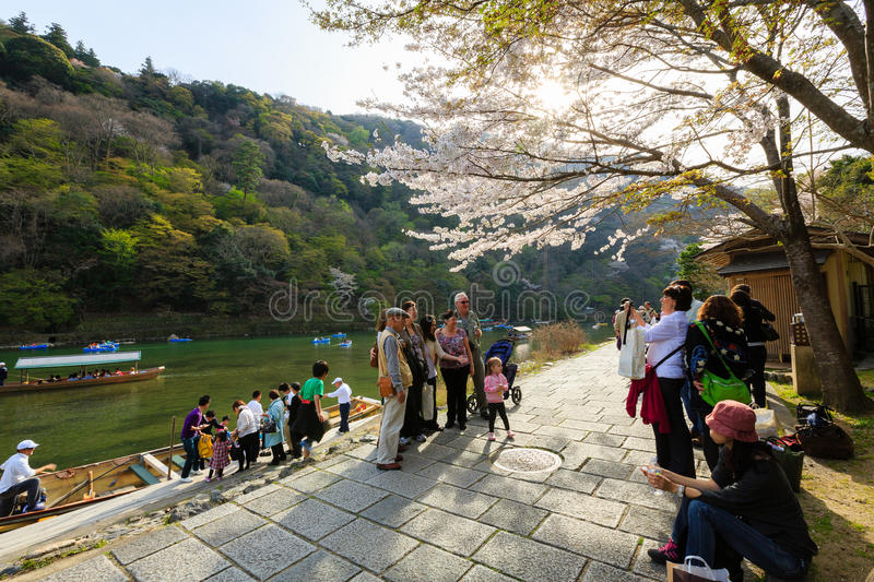 Japan`s cherry blossom season. This picture was taken in Arashiyama district in Kyoto Japan at springtime. Kyoto has so many nice places, specially at the cherry stock photos
