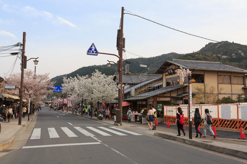 Japan`s cherry blossom season. This picture was taken in Arashiyama district in Kyoto Japan at springtime. Kyoto has so many nice places, specially at the cherry stock images